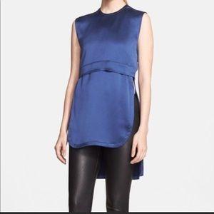 Helmut Lang Blue Mere Silk Layered Tunic L